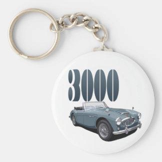 Austin Healey 3000 Basic Round Button Key Ring