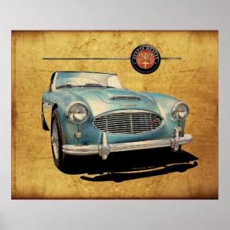 Austin Healey 3000 blue on white Poster