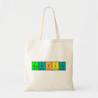 Austin periodic table name tote bag