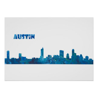Austin Skyline in Clean Scissor Cut Style Poster