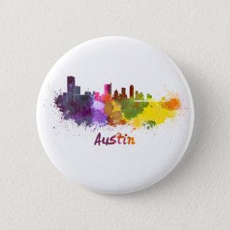 Austin skyline in watercolor 6 cm round badge