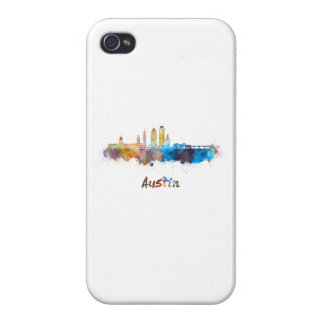 Austin skyline in watercolor iPhone 4 cases