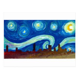 Austin Skyline Silhouette with Starry Night Postcard
