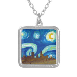 Austin Skyline Silhouette with Starry Night Silver Plated Necklace