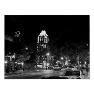 Austin Texas At Night Black and White Poster