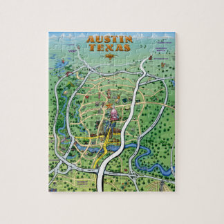 Austin Texas Cartoon Map Jigsaw Puzzle