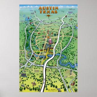 Austin Texas Cartoon Map Poster