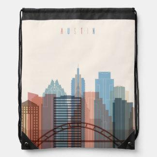 Austin, Texas   City Skyline Drawstring Bag