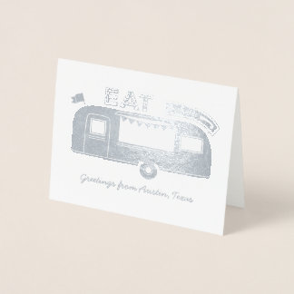 Austin Texas Food Truck Silver Foil Greeting Card