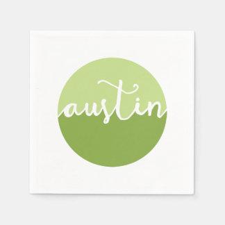 Austin, Texas | Green Ombre Circle Disposable Napkin
