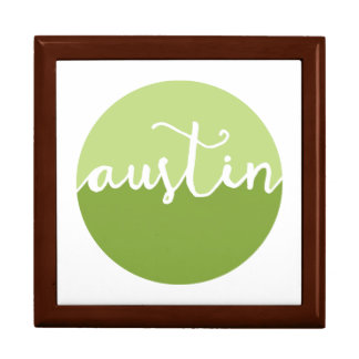 Austin, Texas | Green Ombre Circle Large Square Gift Box