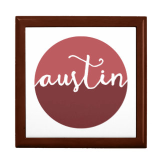 Austin, Texas | Rust Ombre Circle Large Square Gift Box