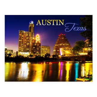 Austin, Texas Skyline at Night Postcard