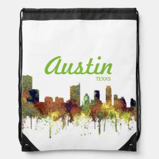 Austin, Texas Skyline - Safari Buff - Drawstring Bag