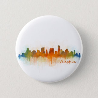 Austin Texas skyline Watercolor v3 6 Cm Round Badge