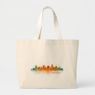 Austin Texas skyline Watercolor v3 Large Tote Bag