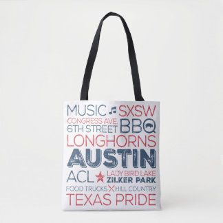 Austin Texas State Red and Blue Words Tote Bag