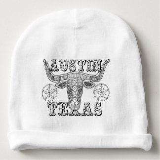 Austin Texas Steer Line Art Design Baby Beanie
