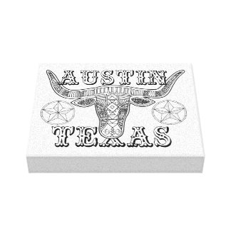 Austin Texas Steer Line Art Design Canvas Print