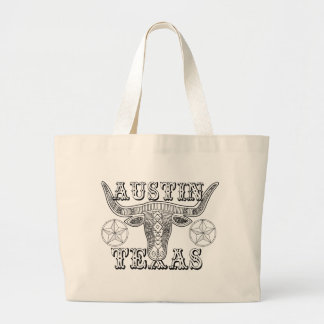 Austin Texas Steer Line Art Design Large Tote Bag