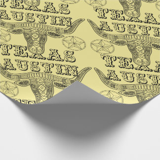 Austin Texas Steer Line Art Design Wrapping Paper