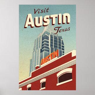Austin Texas Vintage Travel Poster