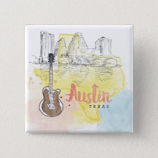 Austin,Texas | Watercolor Sketch 15 Cm Square Badge