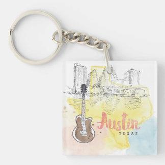 Austin,Texas | Watercolor Sketch Key Ring