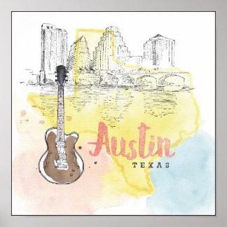 Austin,Texas | Watercolor Sketch Poster
