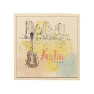 Austin,Texas | Watercolor Sketch Wood Wall Decor