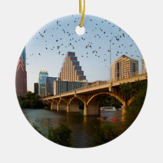 Austin, Texas with Bats Ceramic Ornament