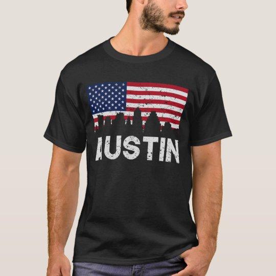 Austin TX American Flag Skyline Distressed T-Shirt