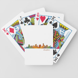 Austin watercolor Texas skyline v1 Bicycle Playing Cards