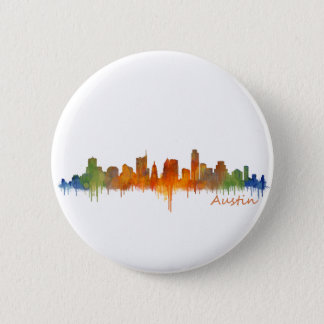 Austin watercolor Texas skyline v2 6 Cm Round Badge