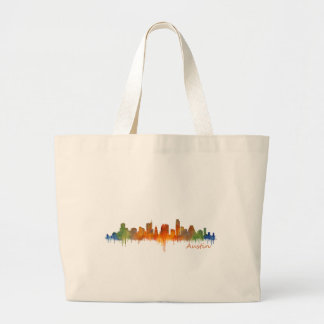 Austin watercolor Texas skyline v2 Large Tote Bag