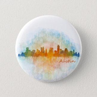 Austin watercolor Texas skyline v4 6 Cm Round Badge