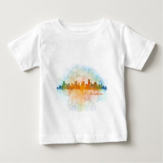 Austin watercolor Texas skyline v4 Baby T-Shirt