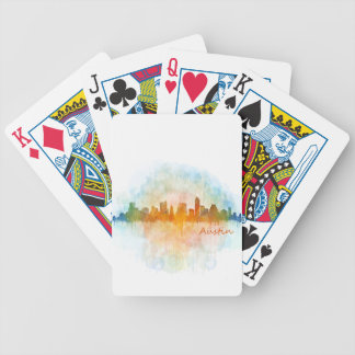 Austin watercolor Texas skyline v4 Bicycle Playing Cards