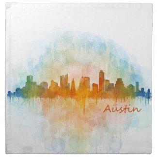 Austin watercolor Texas skyline v4 Napkin