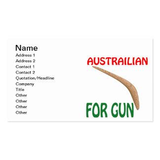 Austrailian For Gun Business Card Templates