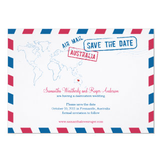 Australia Air Mail Wedding Save The Date 13 Cm X 18 Cm Invitation Card
