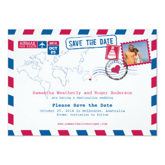Australia Air Mail Wedding Save The Date Card