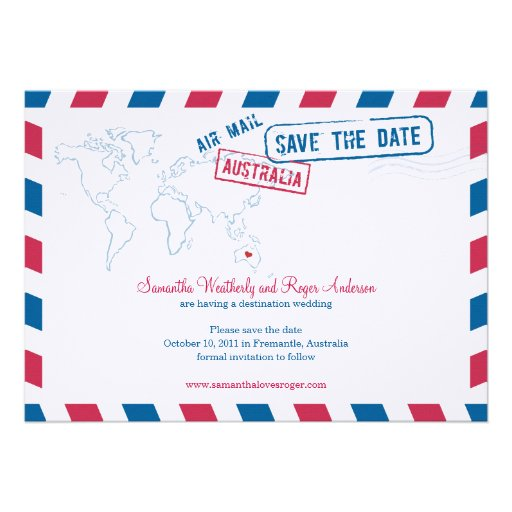 Australia Air Mail Wedding Save The Date Invite