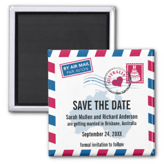 Australia Air Mail Wedding Save the Date Square Magnet