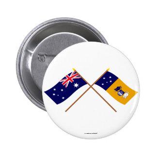 Australia and Capital Territory Crossed Flags 6 Cm Round Badge
