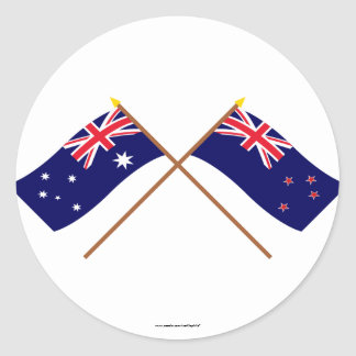 Australia and New Zealand Crossed Flags Round Sticker