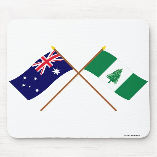 Australia and Norfolk Island Crossed Flags Mouse Pad