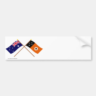 Australia and Northern Territory Crossed Flags Bumper Sticker
