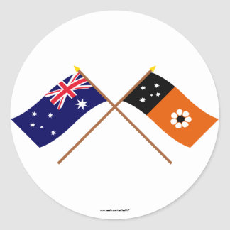 Australia and Northern Territory Crossed Flags Round Sticker