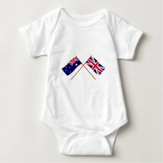 Australia and United Kingdom Crossed Flags Baby Bodysuit